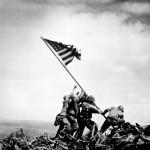 """Flag raising on Iwo Jima."" Joe Rosenthal, Associated Press, February 23, 1945."